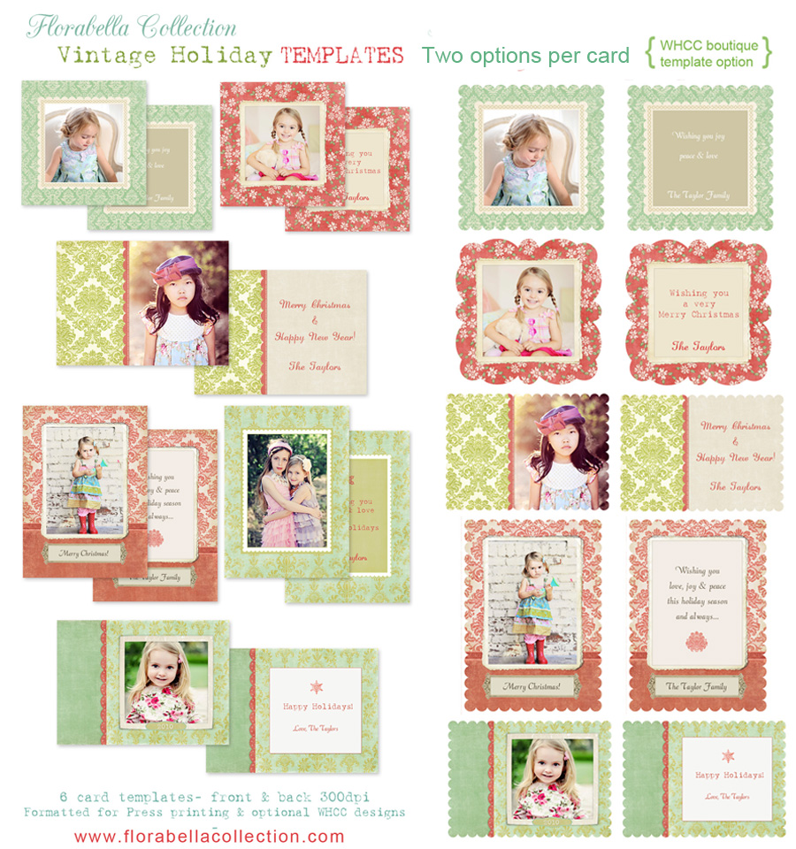 Florabella holiday card photoshop templates for for Free photoshop templates for photographers