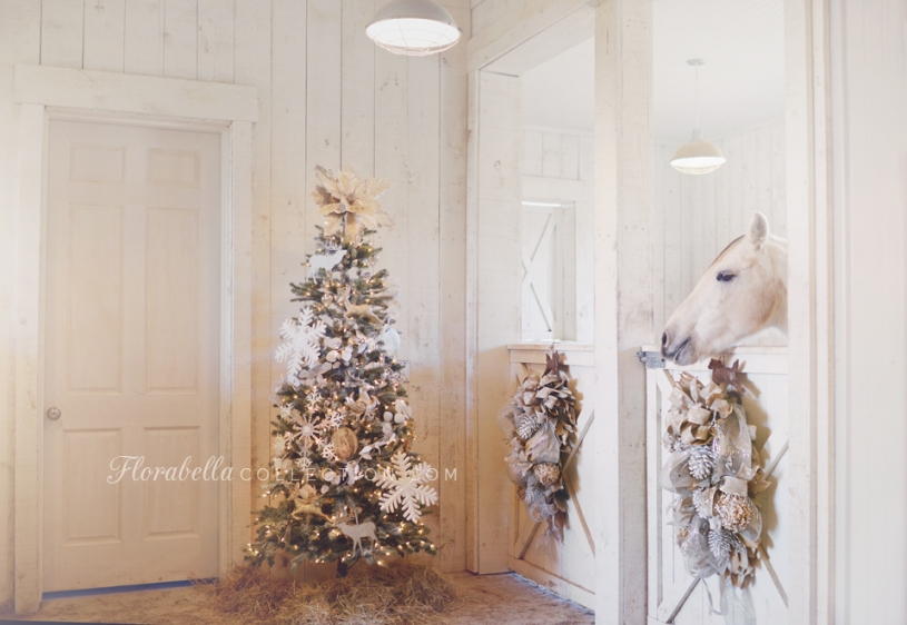 Florabella Christmas Decorated Barn Shabby Chic White HorseDecor