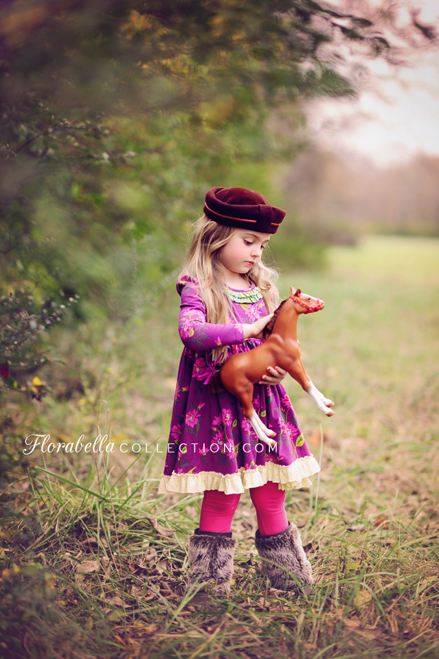 Florabella Photoshop Actions girl Toy horse